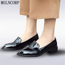 Size 34-43 Patent Leather Shoes Women Casual Pointed Toe Black Oxford Shoes for Woman Flats Comfortable Slip on Loafers Shoes 2017 fashion women loafers canvas shoes slipony oxford flats heels cartoon slip on comfortable mix colors white black shoes 9 11