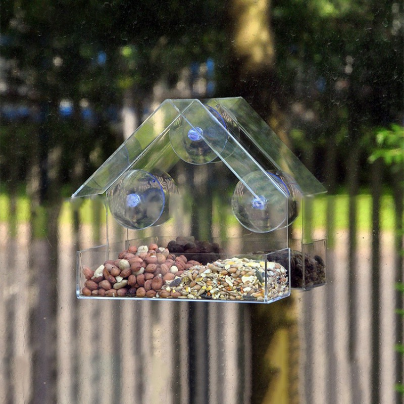 Pandada Bird Feeders Bird Perch Acrylic Transparent Window Bird