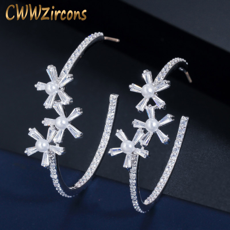 CWWZircons Elegant Cubic Zirconia Flower Big Circle Round Pearl Hoop Earrings For Women Fashion Jewelry Accessories CZ579