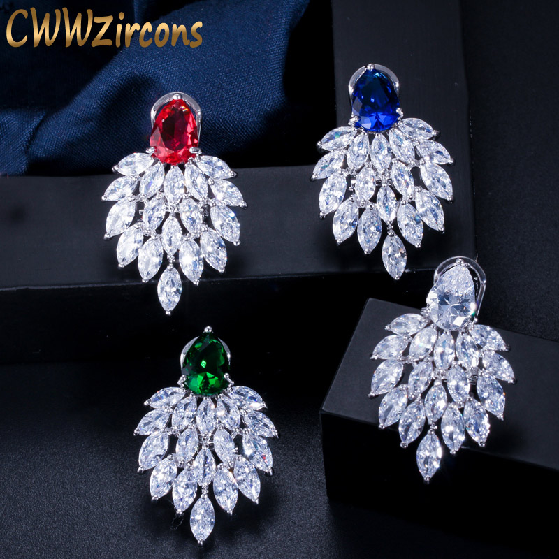 0.6IN Long Sterling Silver Rhodium-plated Flash Gold-tone Synthetic CZ Post Earrings