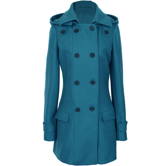 Detactable Hat Turn-down Collar Woolen Coat 3