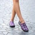 Mujeres Elástica A Cuadros Tejido Kniting Pisos Primavera Verano Planos Del Talón de los Zapatos de Las Mujeres Armadura De La Manera Del Color Puro Casual Slip On shoes Zapatos
