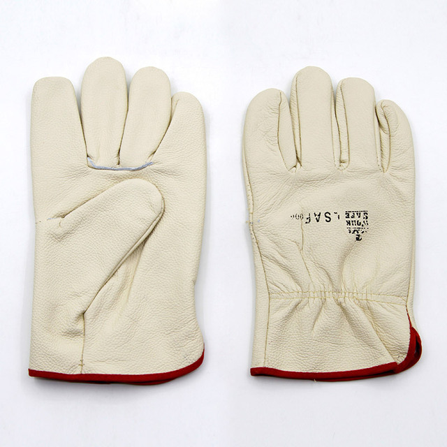 The new 2016 guantes trabajo cowhide white 25 cmwelding cut safety gloves wear resistant gloves working