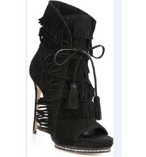 Newest Woman Autumn Tassel Short Boots Beige Black Blue Suede Fringed Lace Up Ankle Boots Sexy Open Toe High Heel Boot Free Ship in Ankle Boots from Shoes