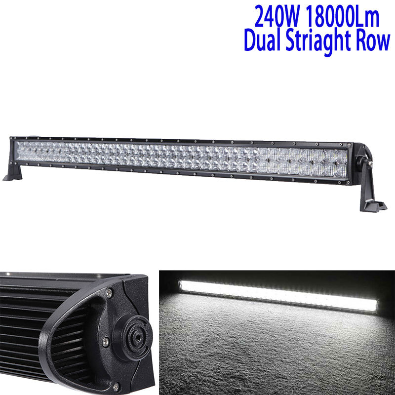 42Inch 240W 5D Led Driving Light Bar Led Work Light Bar Straight Roof Offroad Truck Suv Atv Utv Boat 4wd 6000k White Combo 12v rear fog lamp running light turn signals brake light for toyota highlander 2015 bumper reflector
