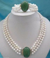 Lovely nice bridal 3 Rows 7 8mm White Pearl Green gem clasp necklace bracelet Jewellery woman word wholesale