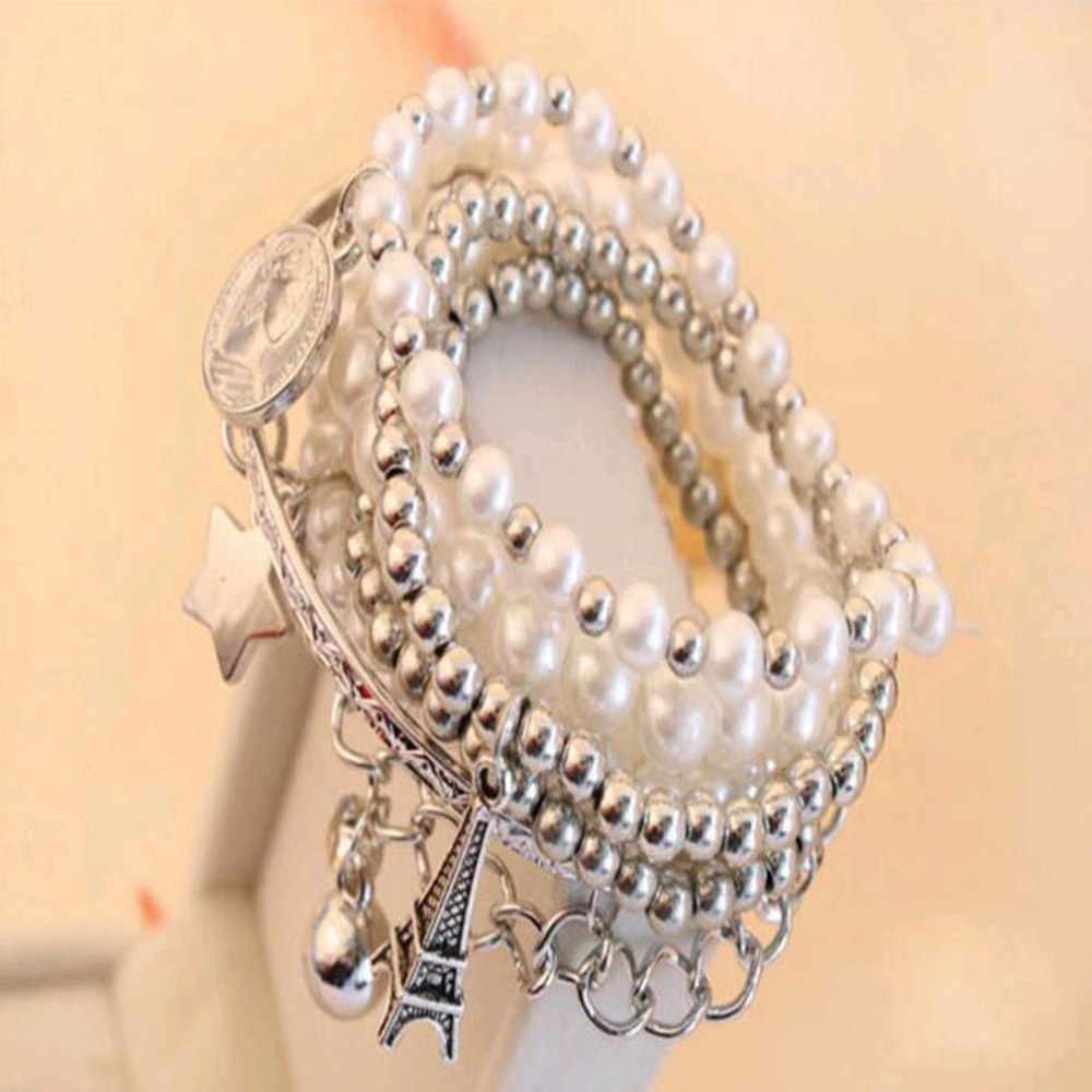 真珠のエッフェル塔多層女性のブレスレットの宝石卸売ヴィンテージ真珠のコインコンビネーションブレスレット直接販売