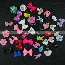 Дизайн ногтей украшения Mix 3D Дизайн ногтей Стикеры 300 шт./лот Смола Coulorful лук/цветок/он Книги по искусству/Кролик т. д. с diamond
