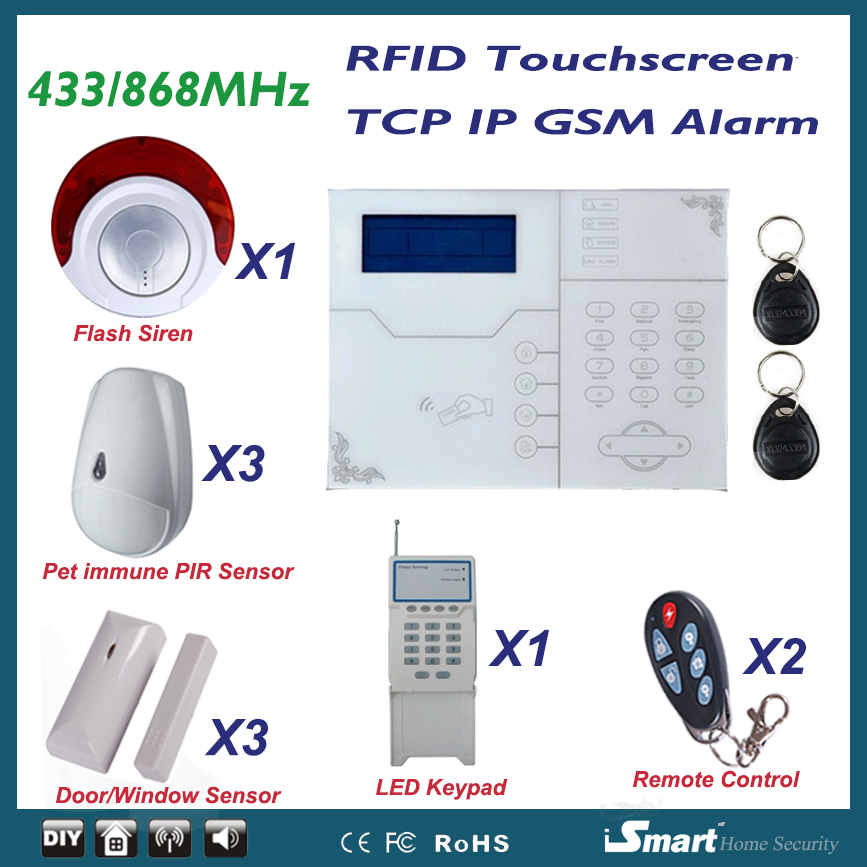 868MHz IOS Android APP Remote Control Wired and Wireless GSM TCP IP Ethernet Alarme Systems with Pet PIR Sensor and Flash Siren
