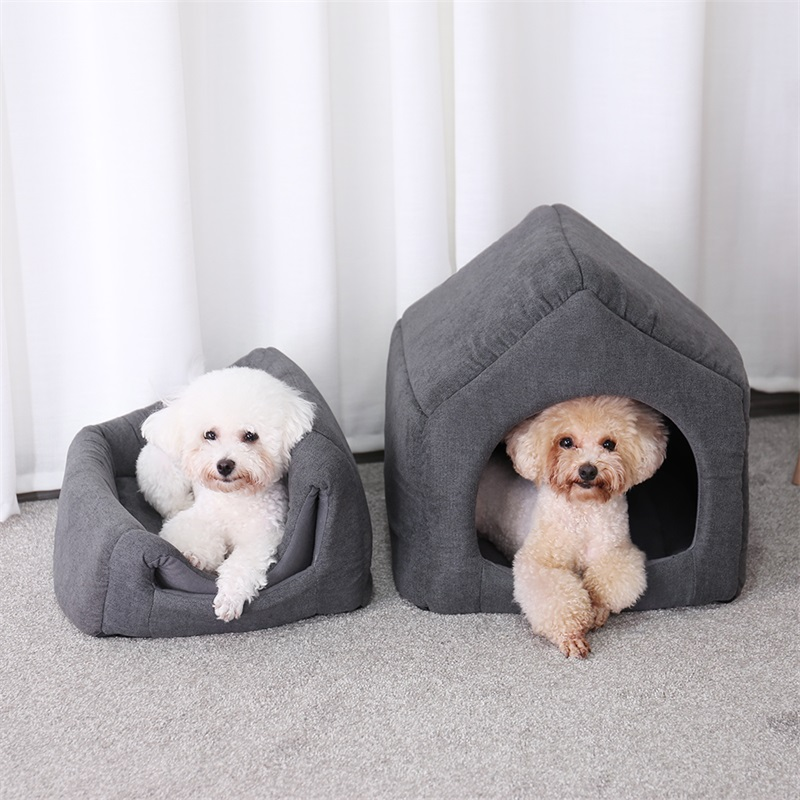 2 In 1 Pet Dog Beds House With Detach Mat Kennel Foldable Removable Breathable Beds For Dog Cat Puppy Warm Soft Cushion Washable