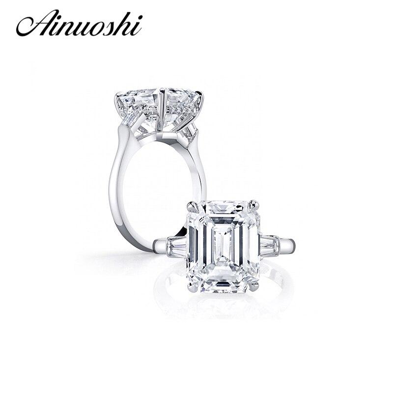 Free Shipping 925 Sterling Silver Ring Size4 10 Classic Emerald Cut SONA NSCD Diamond Fashion Jewelry
