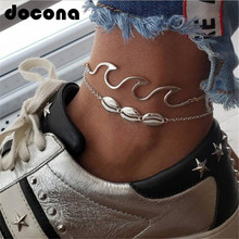 docona Boho Silver Conch Shell Wave Pendant Anklets for Women Cowrie Layered Anklet Foot Chains Bracelet Jewelry Pulseras 6478