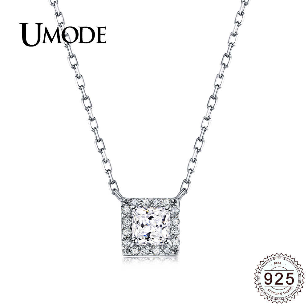 UMODE Square Cubic Zirconia Stone White Gold Sterling 925 Silver Women Necklaces Female Jewelry for Girls Wedding Party ULN0239