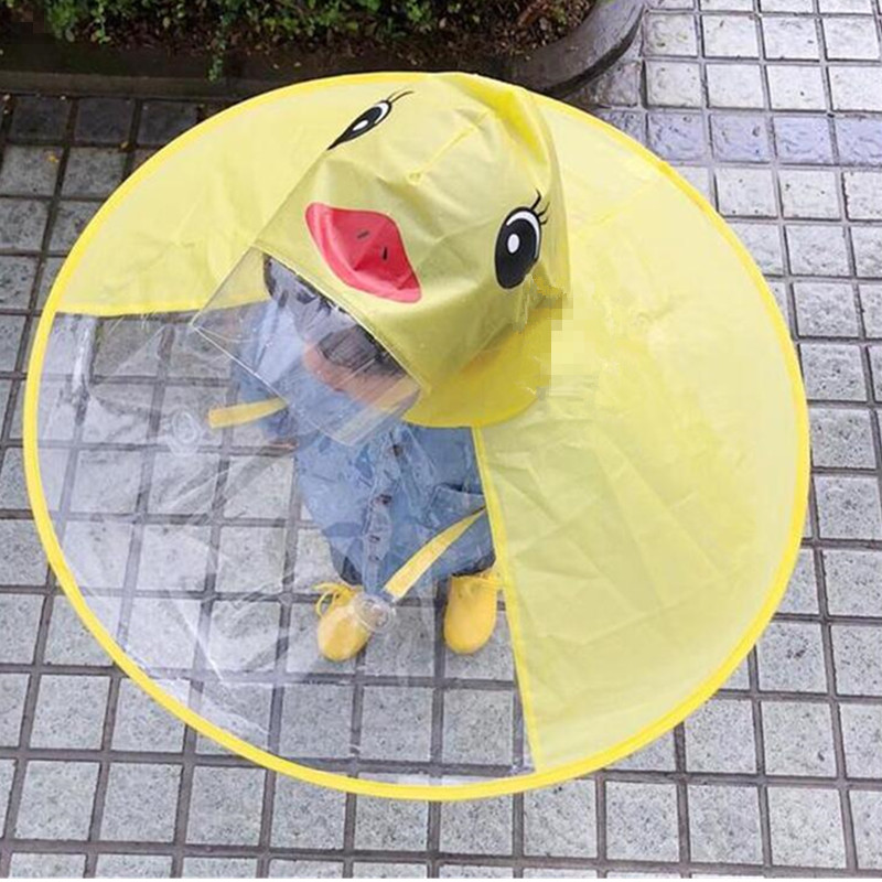 Home Kids Yellow Duck Raincoats Ufo Cap Umbrella Cosplay Student Rain Coats Automatic Folding Umbrella Creative Design Childrenbaby