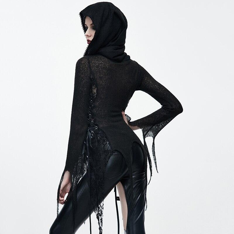 Steampunk femmes noir Sexy Rivet avec à capuche à manches longues T shirts printemps automne mode moulante mince haut pour femme t shirt - 3