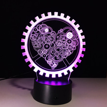 Fashion 3D Illusion Gear Love Heart Shape Lamp LED Sleeping Night Light As Couple & Lovers Gifts Party Atmosphere Lighting Decor