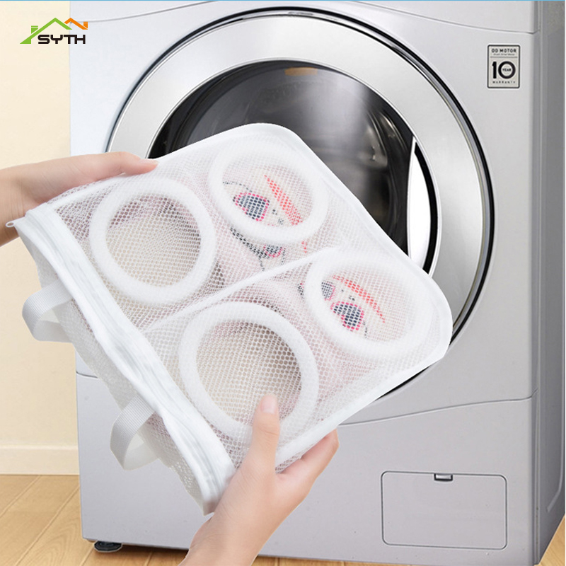 1pcs Nylon Laundry Bag Shoe Washing Bag Shoes Trainer Sport Sneaker Tennis Boots Shoes Laundry Mesh Washing Bag Storage Organize