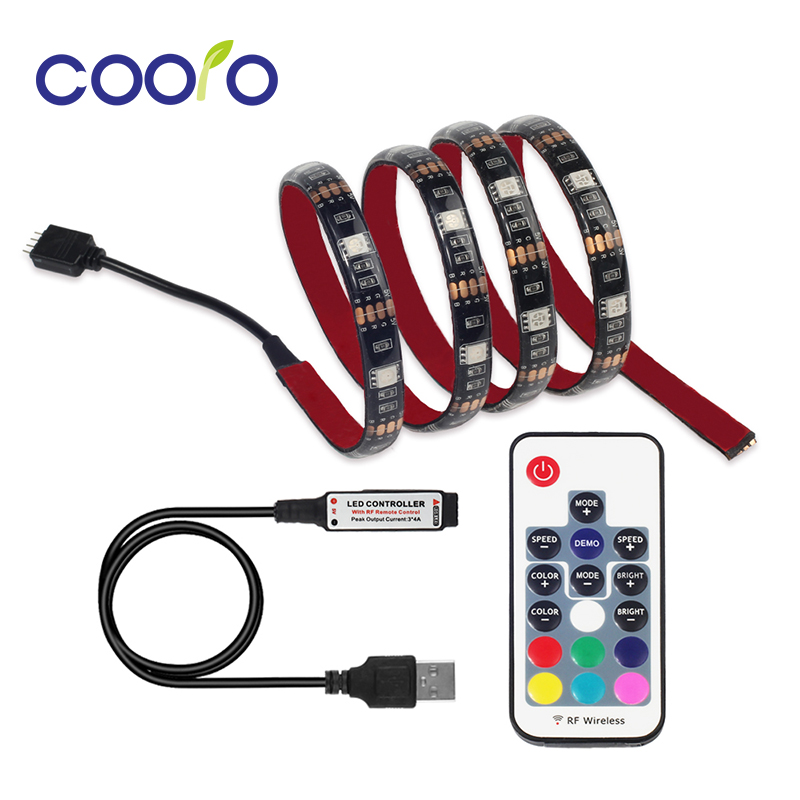 USB LED Strip 5050 RGB TV Latar Belakang Kit Lampu Cuttable dengan 17Key RF Controller 1M / 2M Set, kalis air atau tanpa kalis air