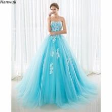 2018 vestidos de baile Stock Sky Blue A-line Prom dresses vestido noite Sweetheart elegant cheap long appliques prom dress