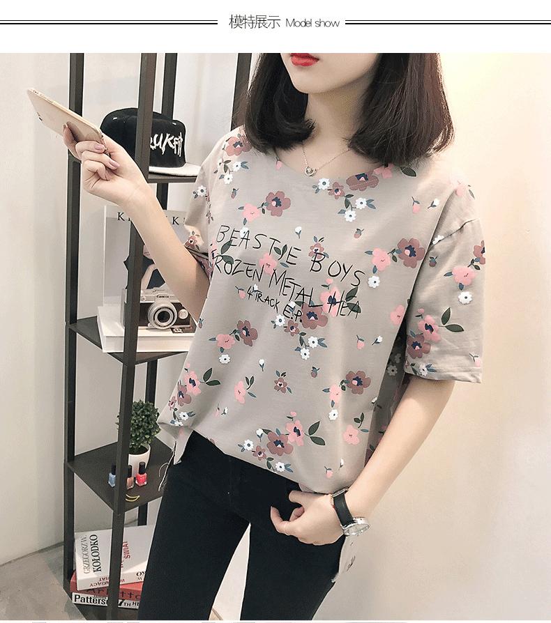 Casual Loose Women Summer T-shirt Womens O-neck Printing Cute T-shirts Female Sweet Girls Tops Females Korean Style New Trendy 8