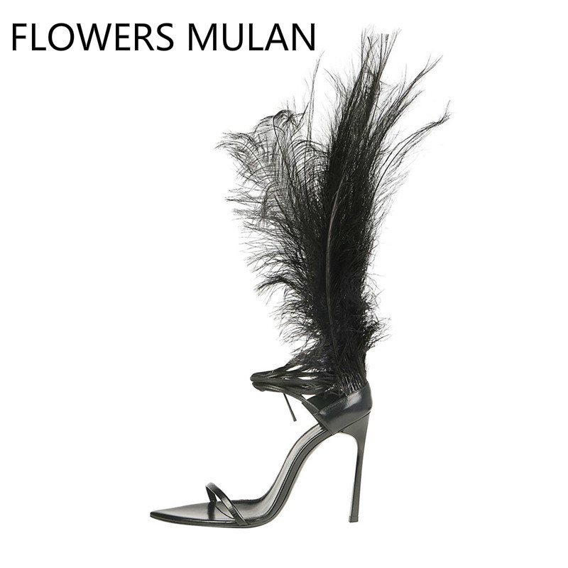 2019Women Feather Summer Sandals Black Leather Ankle Strap Sandalias Feminina Formal Dress High Heels Ladies  Valentine Shoe2019Women Feather Summer Sandals Black Leather Ankle Strap Sandalias Feminina Formal Dress High Heels Ladies  Valentine Shoe