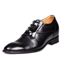 8124 Black Dress Oxfords Business Shoes In Height Lift Grow Taller 7CM For Mens Wedding Height