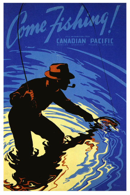 Vintage Advertising Travel Poster Canada Come Fishing Classic Canvas ...