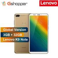 Глобальная версия lenovo K9 Примечание разблокированный сотовый телефон, 3 Гб оперативной памяти, 32 Гб встроенной памяти, 6 дюймовый 18:9 Восьмияд