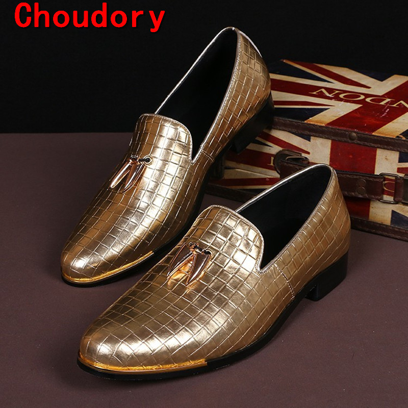 Choudory Choudory italian shoes men leather black sliver gold dress man  shoes loafers moccasins fashion male - Online Get Cheap Men Black And Gold Dress Shoes -Aliexpress.com