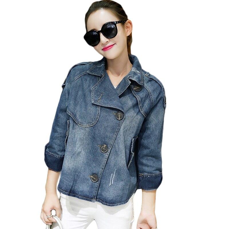 Fashion Korean Jeans   Jacket   2019 Women Spring Fall Long Sleeve Short Denim   Jacket   Coat Loose Casual Autumn   Basic     Jacket   D699