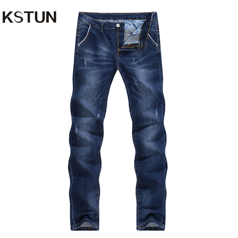 KSTUN Men   Jeans   High Quality Famous Brand Stretch Straight Slim Fit Blue Men's   Jeans   Classic Denim Casual Pants Long Trousers