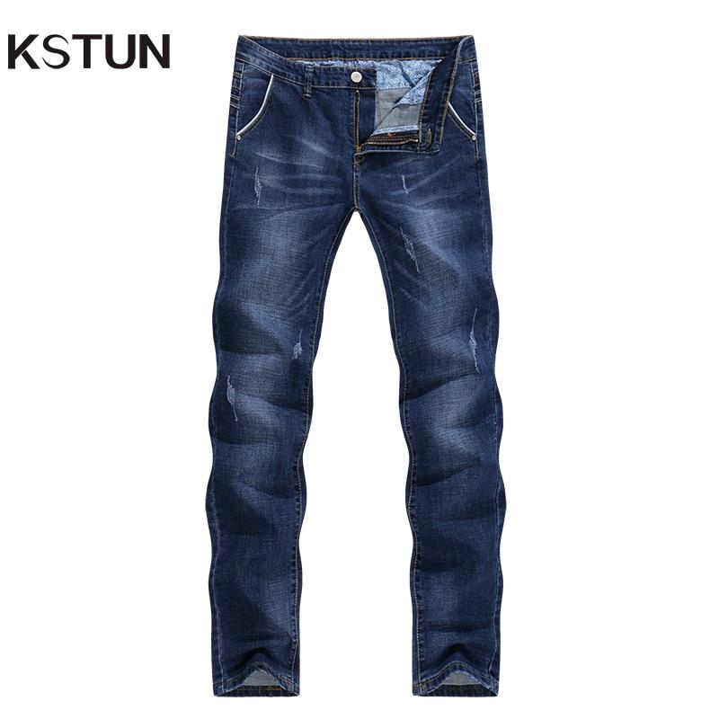 KSTUN Men <font><b>Jeans</b></font> High Quality Famous Brand Stretch Straight Slim Fit Blue Men's <font><b>Jeans</b></font> Classic Denim Casual Pants Long Trousers