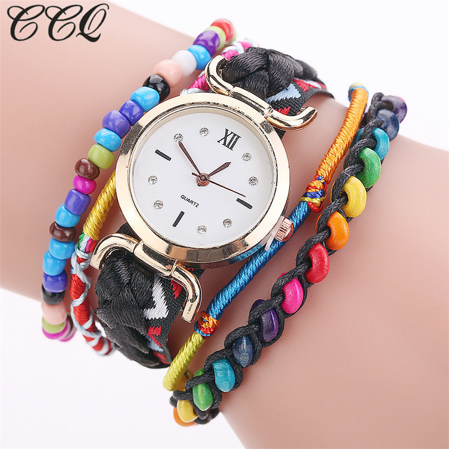 CCQ Brand Fashion Women Dress Colorful Handmade Vintage Brac