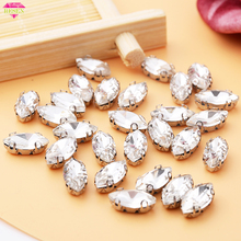 RESEN 20PCS/PACK 5X10mm/6X12mm/7X15mm Horse Eye Crystal Rhinestones DIY Glass Sew On With Claw Sewing