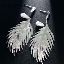 WNGMNGL 2018 Hot Fashion Metal Leaves Dangling Long Statement Drop Earrings For Women Gold Silver Color Pendientes Mujer