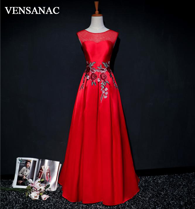 VENSANAC O Neck A Line Flowers Embroidery 2018 Satin Long   Evening     Dresses   Elegant Lace Backless Party Prom Gowns