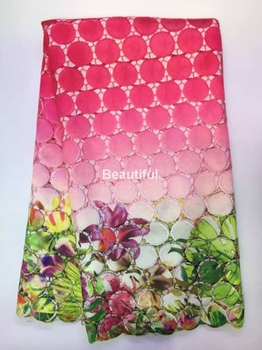 red High quality fuchsia pink polyester digital printing French net guipure african cord lace faric for wedding/party dress