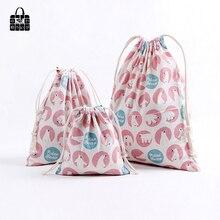 1 pcs Pink polar bear 100% Cotton Bunch Pocket Travel Accessories Clothing Toys Storage Bag Organizers Multi-Function