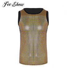 b74405c8cc573 Mens Fashion Sequined Elastic Stage Costumes Vest Shiny Metallic Sleeveless  Pullover Muscle Vest Tank Tops Night