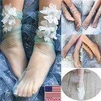 Новый для женщин леди лето золото и серебро нитки кружево Прозрачный Короткие Носки Low Cut короткие носки