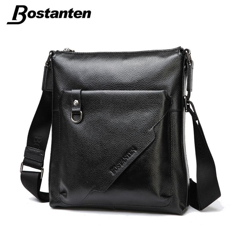 Bostanten Vintage Fashion Men Messenger Bags Genuine Leather Casual Male Shoulder Bag Crossbody Bags Men's Travel Bags Handbag