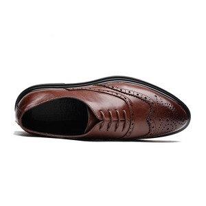 Image 3 - 2019 Мужские модельные туфли; кожаные оксфорды; Повседневная Деловая официальная мужская обувь на шнуровке; брендовая мужская Свадебная обувь