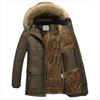 2019 Winter Jacket Men Smart Casual Parkas Solid Thicken Warm Fur Collar Hoodie Outwear Jacket Cotton Parka Coat Plus Size M 4XL