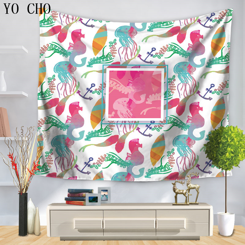 YO CHO The Colorful Shark Crab Printed Tapestry Hippie Home Decor ...