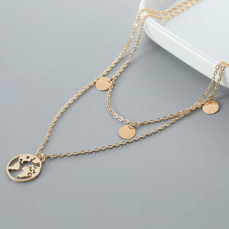 Hot style round piece world map pendant necklace accessories wholesale