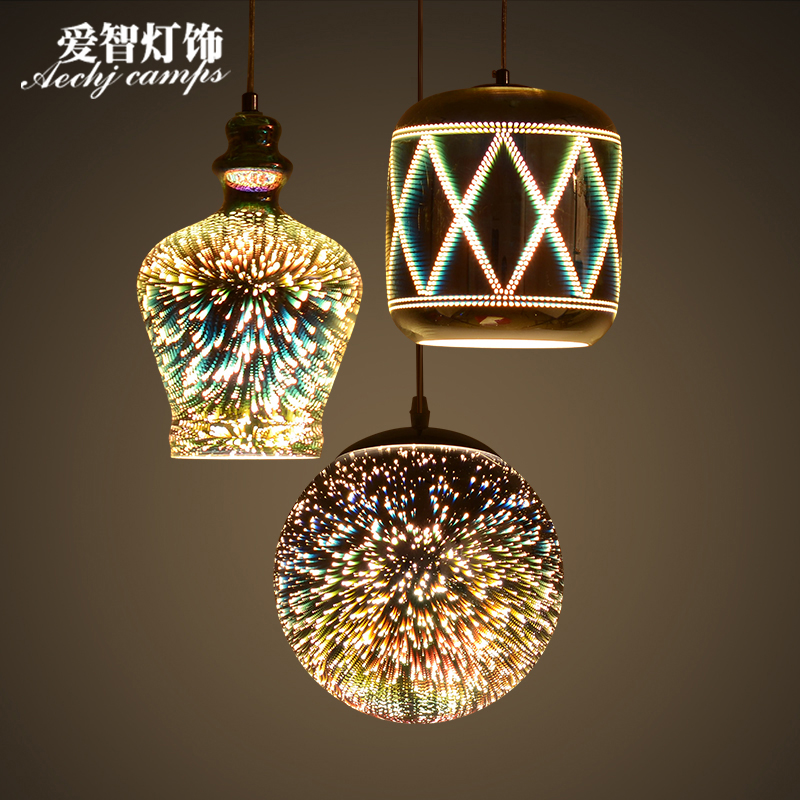 Modern glass pendant light 3d hanging lamp fireworks for Suspension luminaire ronde