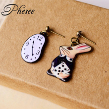 New Design Asymmetric High Quality Retro Gold Plated Cartoon Rabbit Watch Stud Earrings For Women Girls Jewelry Gift