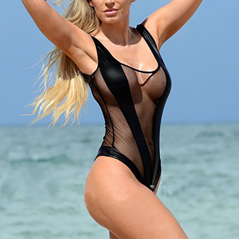Super Sexy Splicing Transparent Mesh One Piece Swimsuit Summer Sheer Monokini See Through Bathing Suit Swimwear Bodysuit Bikini sheer mesh bishop sleeve bodysuit