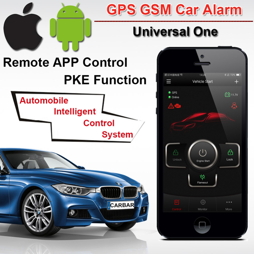 IOS Android GPS GSM Car Alarm Push Button Start with PKE Keyless Entry System One Start Stop Button GPS Tracker Alarm CARBAR fuzik keyless go smart key keyless entry push remote button start car alarm for honda accord odyssey crv civic jazz vezel xrv