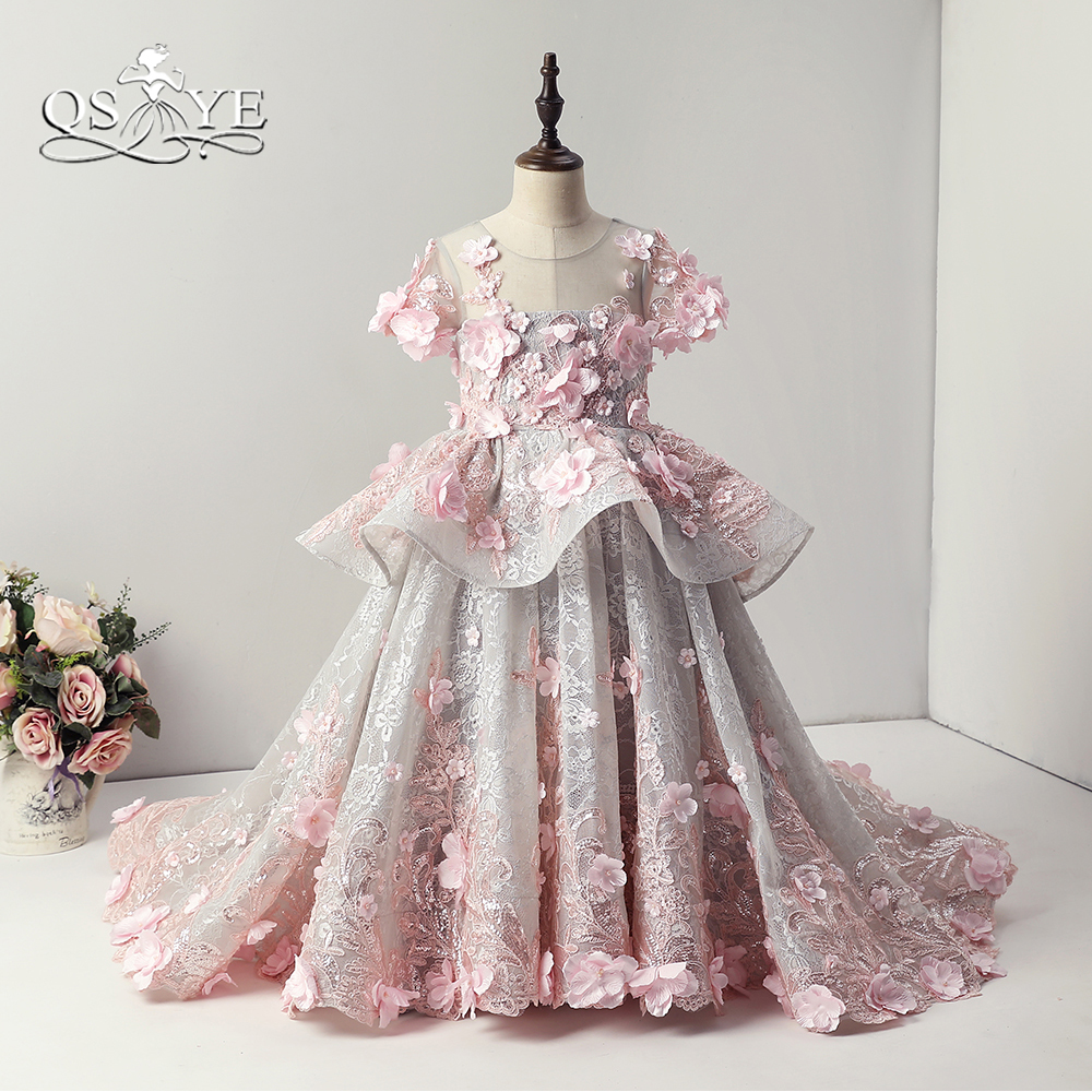 QSYYE 2018 Pink Vintage Arabic Princess Flower Girl Dresses for Wedding Ball Gown 3D Floral Flowers Lace Girl Communion Dress